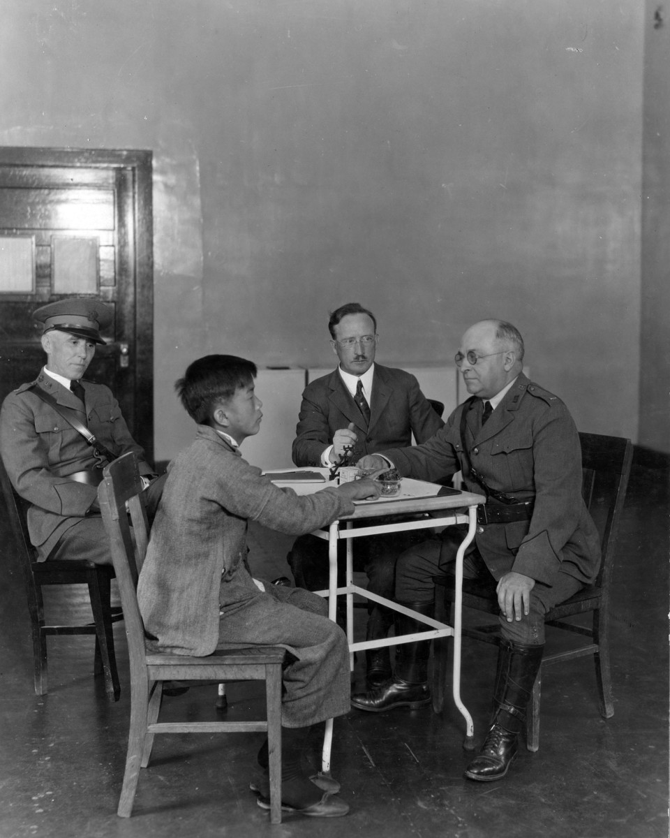 Man interviewed at Angel Island Immigration Station, Tiburon, California, 1923