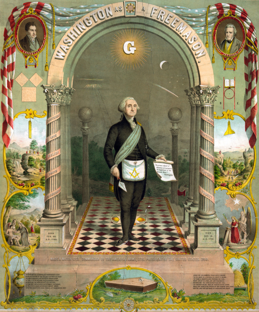 George Washington in masonic attire, holding a scroll and trowel, alongside portraits of Lafayette and Andrew Jackson, as well as biblical scenes.