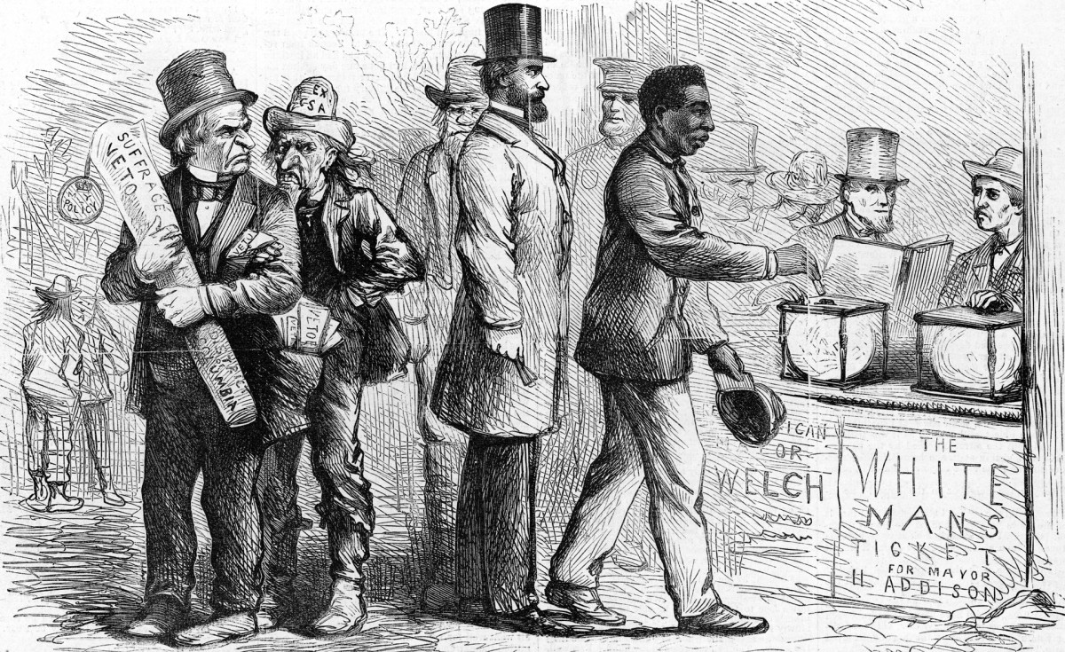 A 1867 political cartoon depicting an African American man casting his ballot during the Georgetown elections as Andrew Johnson and others look on angrily.