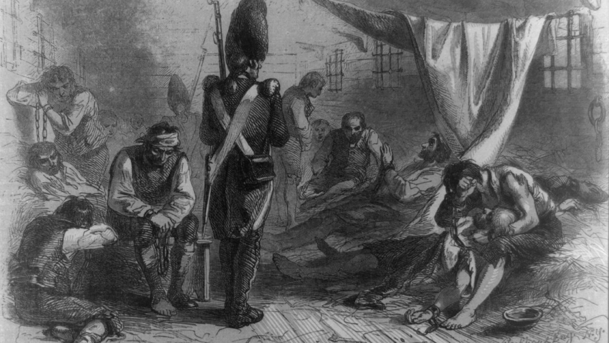 Interior of the Jersey prison ship during the Revolutionary War.