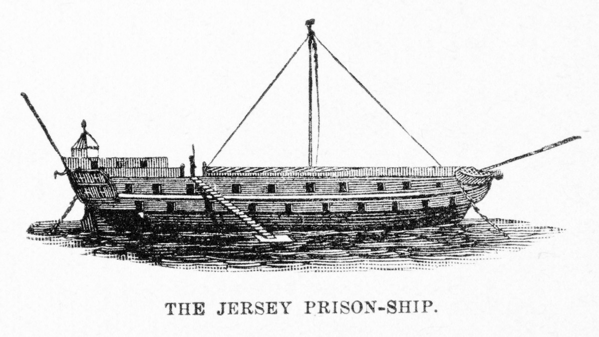 The HMS Jersey, a 60 gun Royal Navy ship of the line used by the British as a prison ship during the American Revolution.