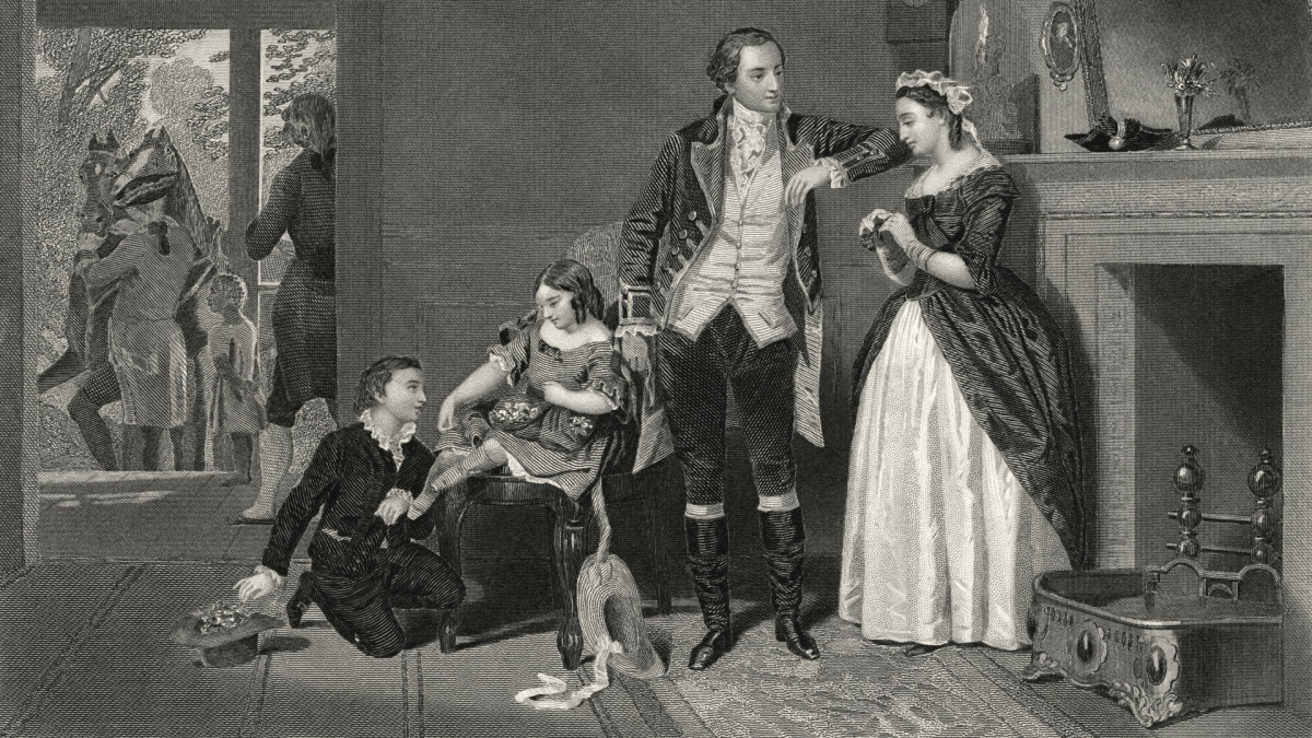 George Washington with Martha Custis and her two children.