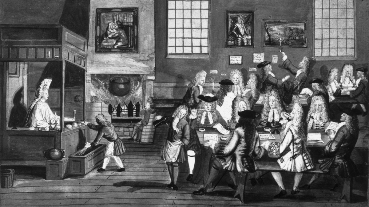 A 17th-century London coffee house.