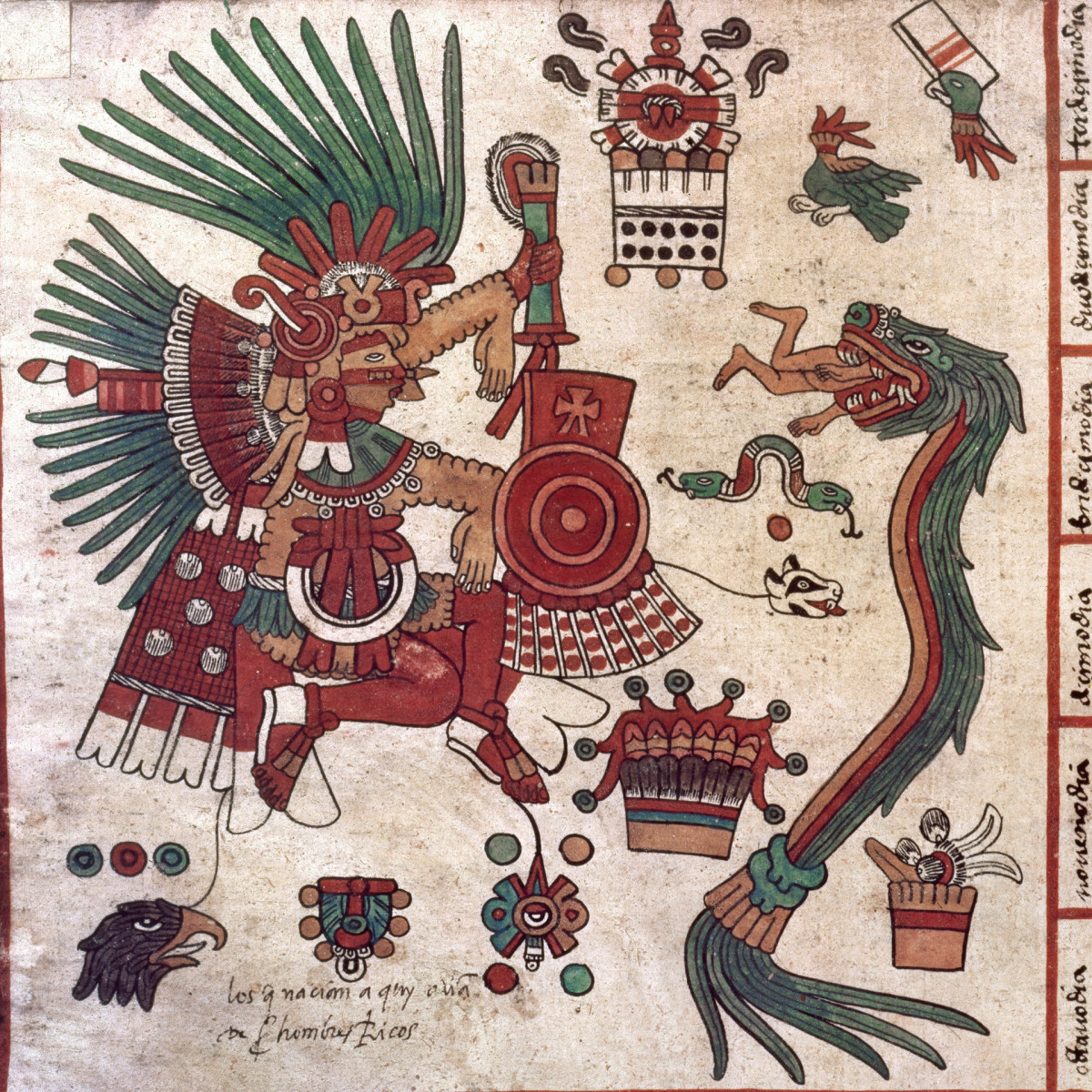 A detailed view of Aztec art depicting the god Tez-Calipoca and Quetzalcoatl (right) devouring a human being.