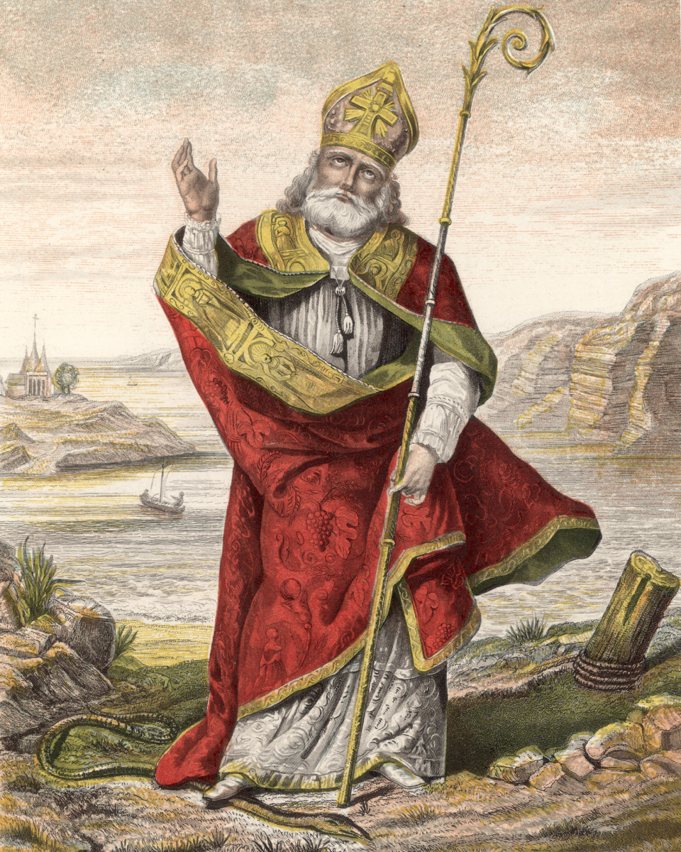 St. Patrick depicted with his foot on a snake.