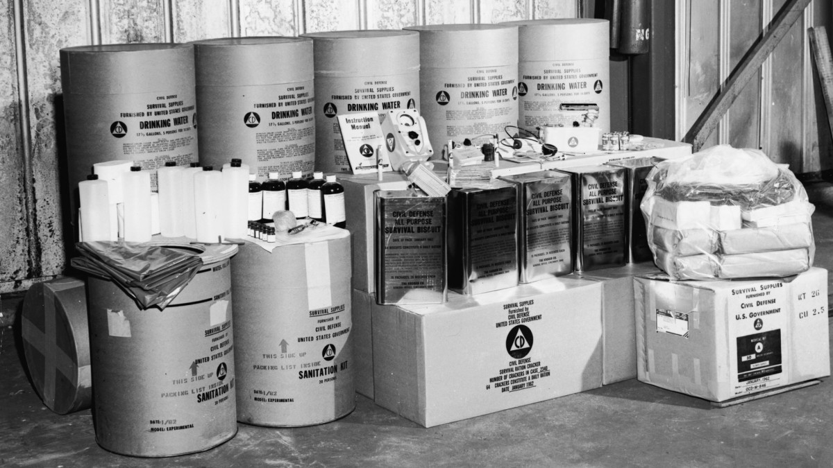 View of food, sanitation and survival supplies issued by the U.S. Defense Department for stocking a 50-person public bomb fallout shelter during the Cold War, 1962.
