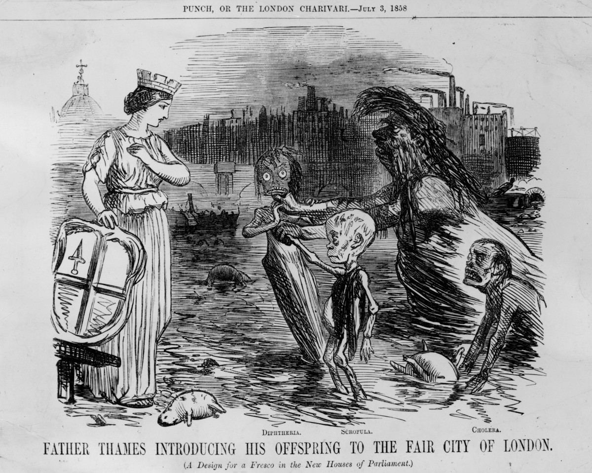 A satirical cartoon showing the River Thames and its offspring cholera, scrofula and diphtheria, circa 1850s.