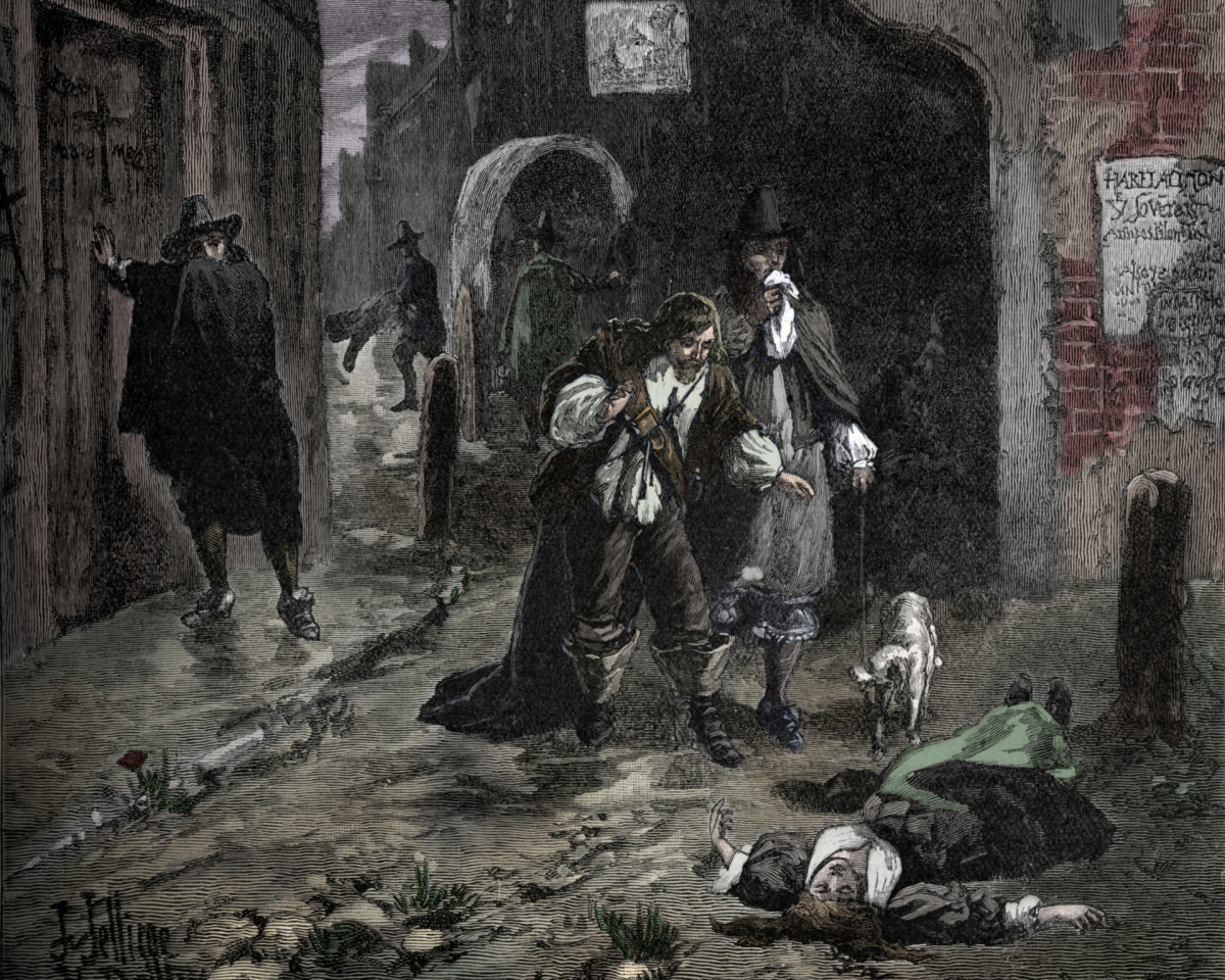 Scenes in the streets of London during the Great Plague of 1665.