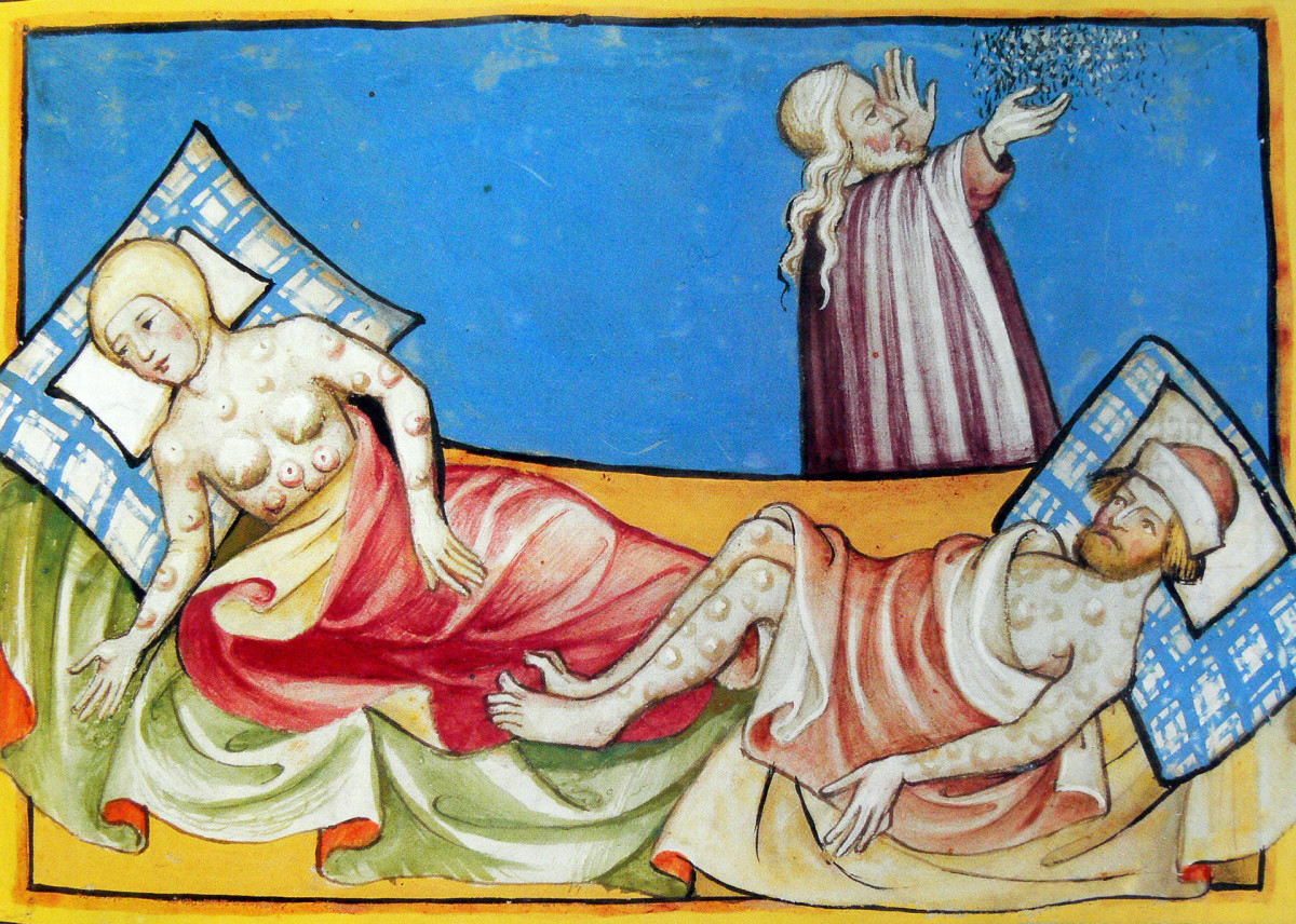 A couple suffering from the blisters of the Black Death, the bubonic plague that swept through Europe in the Middle Ages. From the Swiss manuscript the Toggenburg Bible, 1411.