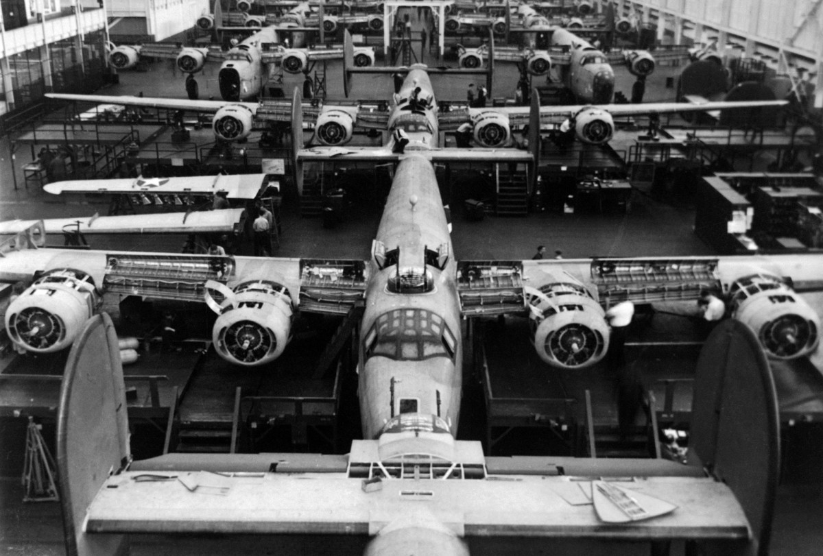 Production line at the Ford Willow Run bomber plant. By 1945, Ford was churning out B-24 Liberators at the rate of one per hour.