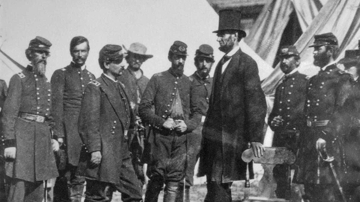 President Abraham Lincoln with General George B. McClellan at his headquarters at Antietam, October 3, 1862.