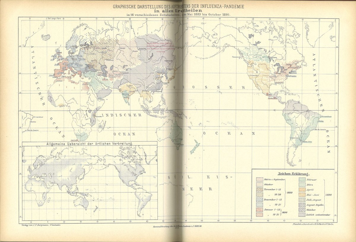 A 1892 map detailing pandemic influenza cases around the world over 16 different periods, from May 1889 to October 1890.