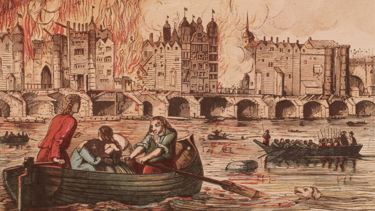 People flee to boats on the River Thames to escape the Great Fire of London, 1666.