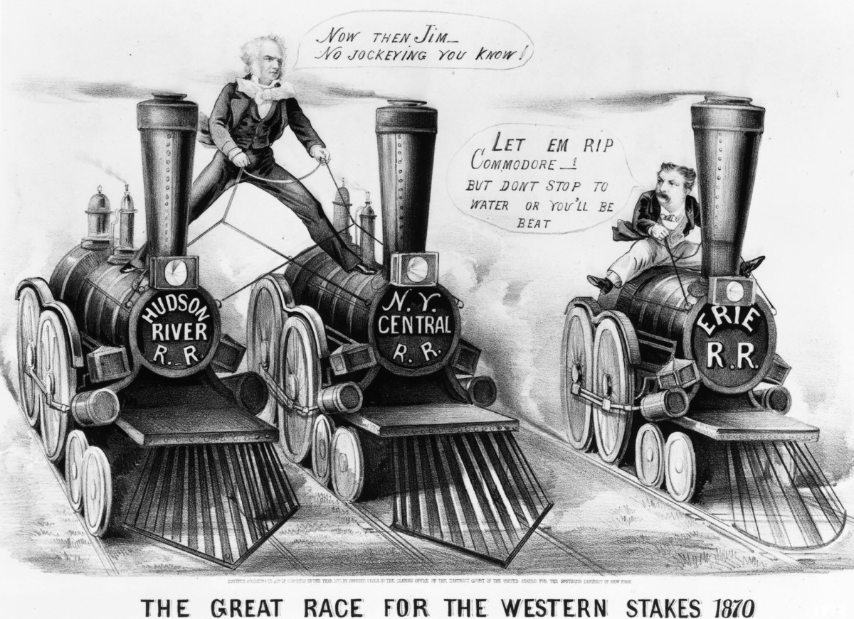 American industrialist Cornelius Vanderbilt (1794 - 1877) standing astride two railroads competing with James Fisk (1835 - 1872) for control of the Erie Railroad.