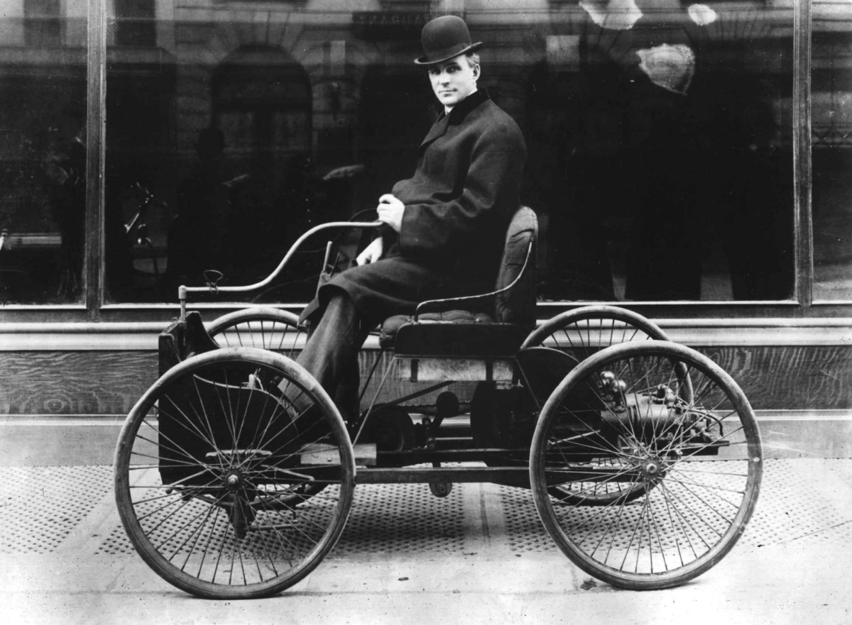 Henry Ford driving his Quadricycle, circa 1896.