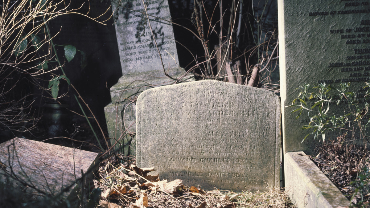 The headstone of Alexander Graham Bell (1847-1922) photographed in 1996.