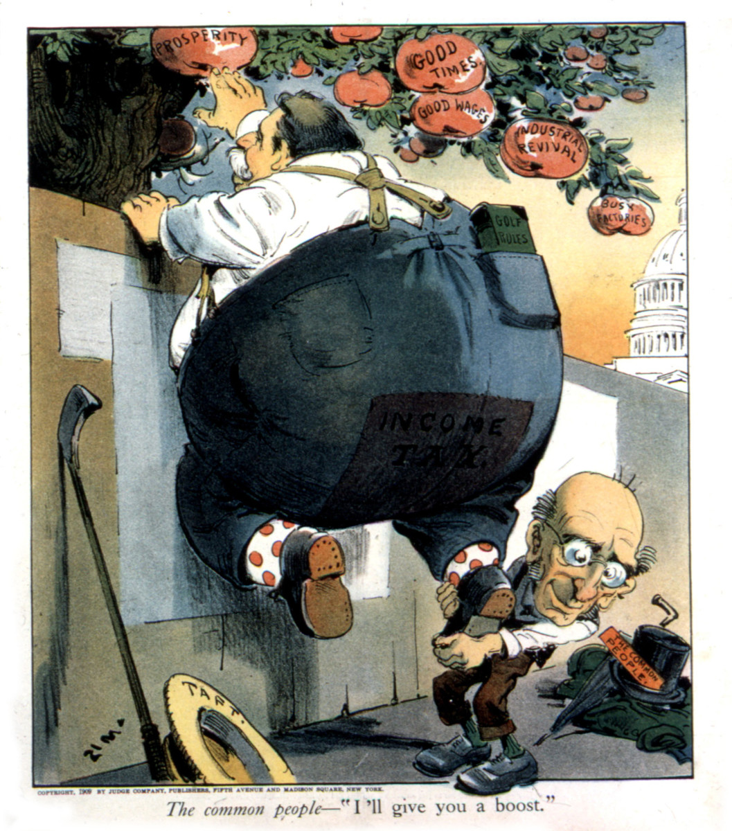 "A cartoon in Judge magazine depicting President Taft as Income Tax, reading ""I'll give you a boost,"" 1909."