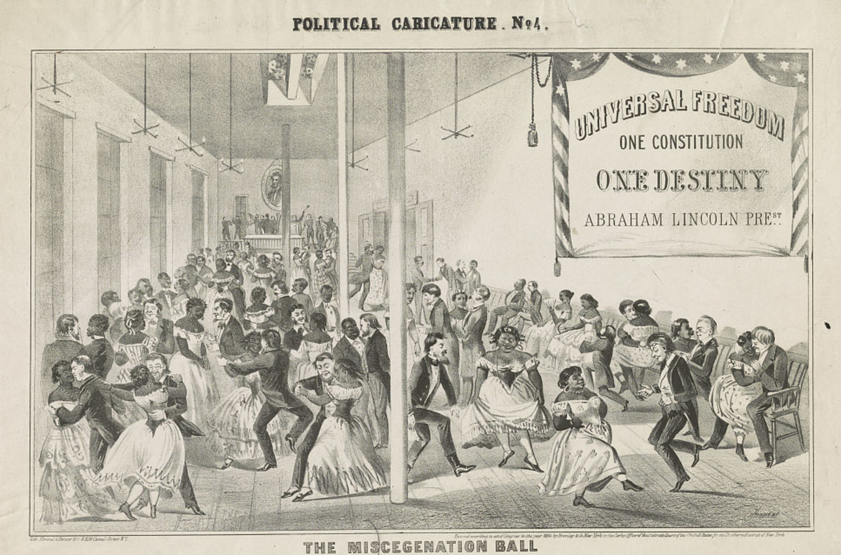 "A racist political cartoon depicting a fictional ""Miscegenation Ball"" at the Headquarters of the Lincoln Central Campaign Club, circa 1864."