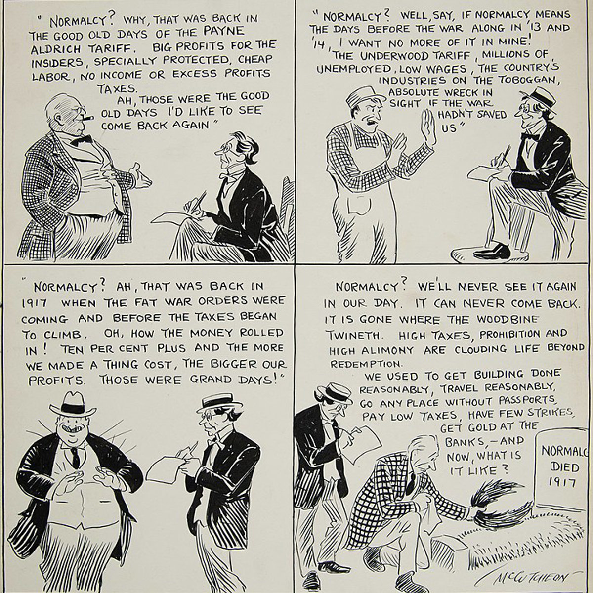 What is Normalcy? 1921 cartoon