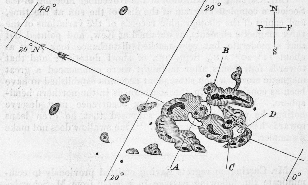 Illustration based on observations by the British astronomer Richard Christopher Carrington (1826-1875), showing a group of sunspots. In September 1859, he noticed two areas in the middle of a sunspot group grow rapidly brighter (points A and B), before dimming and disappearing at points C and D. This was the first recorded observation of a solar flare.