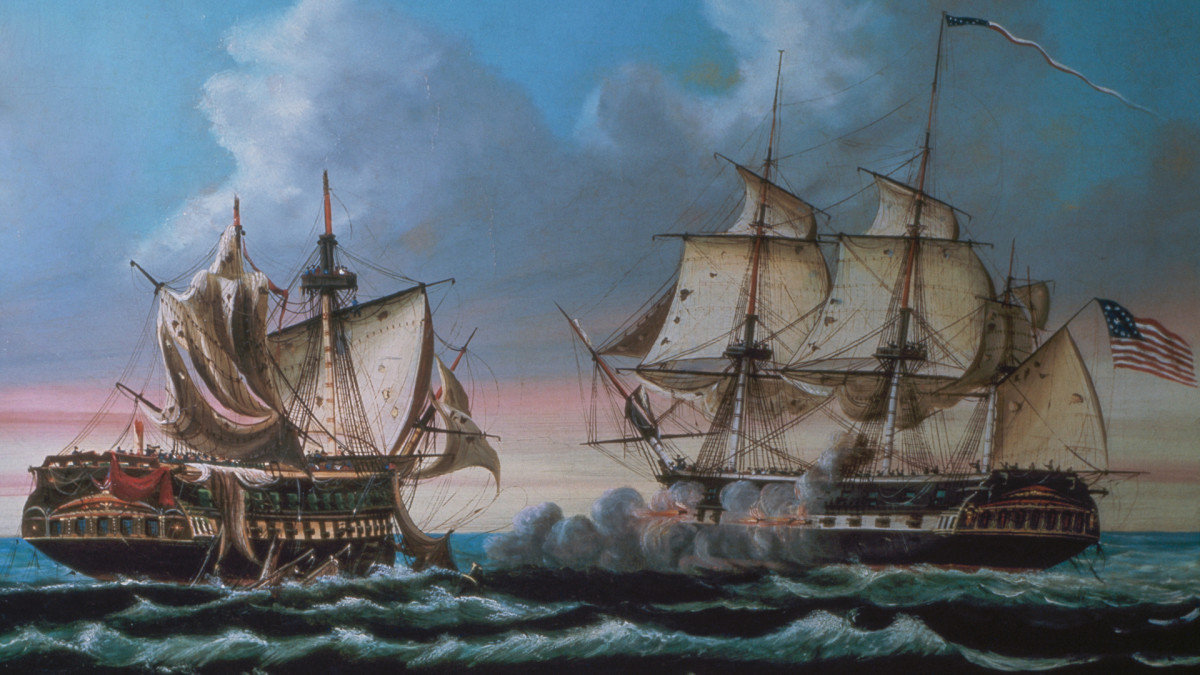 USS Constitution and the HMS Guerriere during the War of 1812