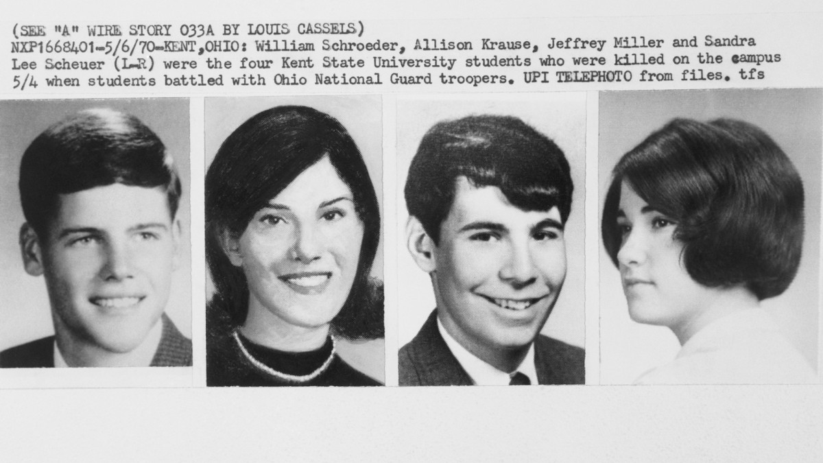 From left to right: William Schroeder, Allison Krause, Jeffrey Miller, and Sandra Scheur, the four Kent State University students killed on campus when students battled with Ohio National Guard troopers.