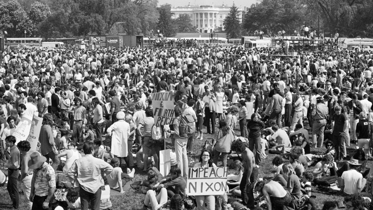 Hundreds of thousands of angry young Americans descended on nation's capitol on May 12, 1970 to protest U.S. involvement in Indochina and the Kent State University shootings earlier in the week.