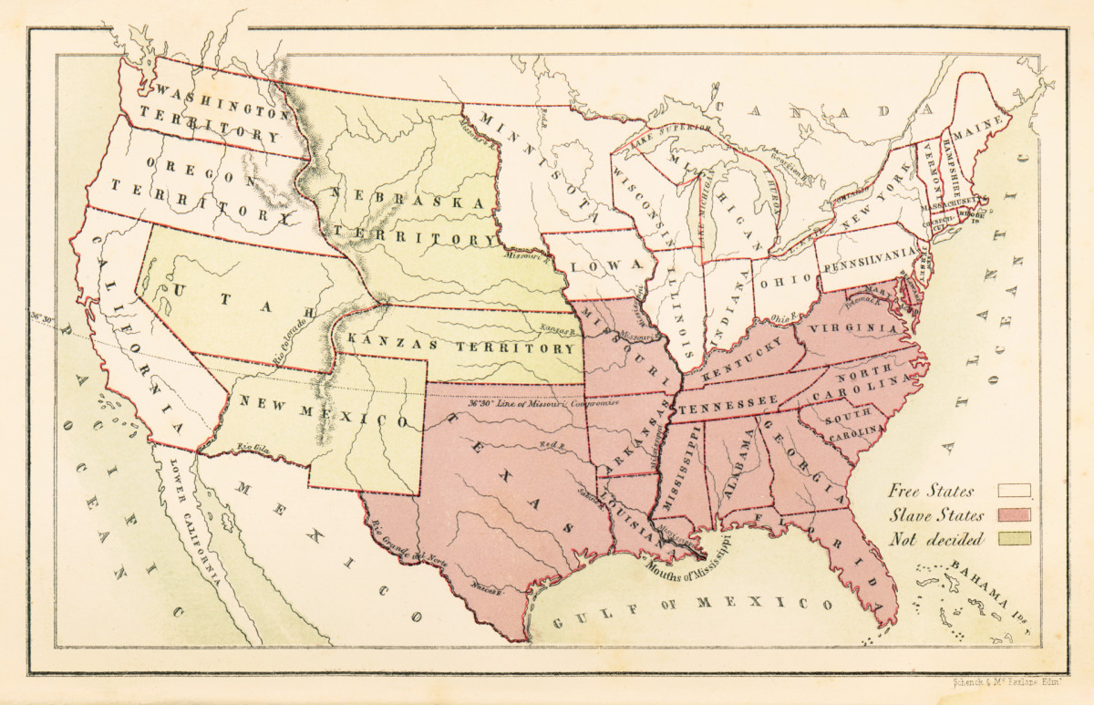 Slavery in American, map