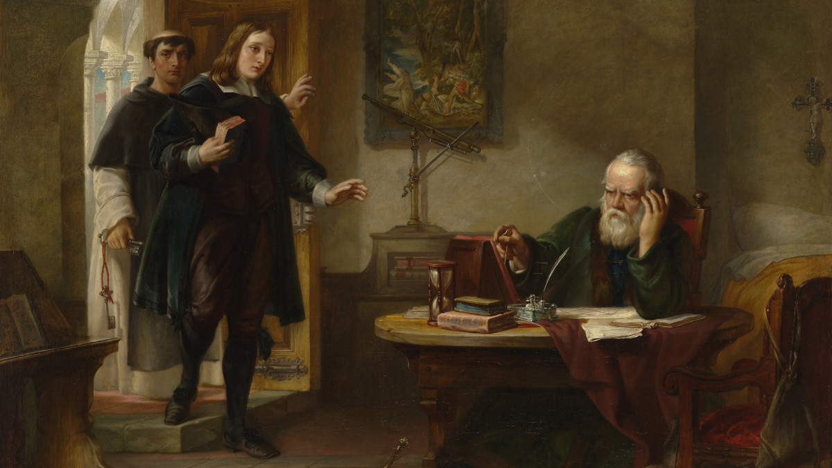 English poet John Milton visiting Galileo when a prisoner of the Inquisition.