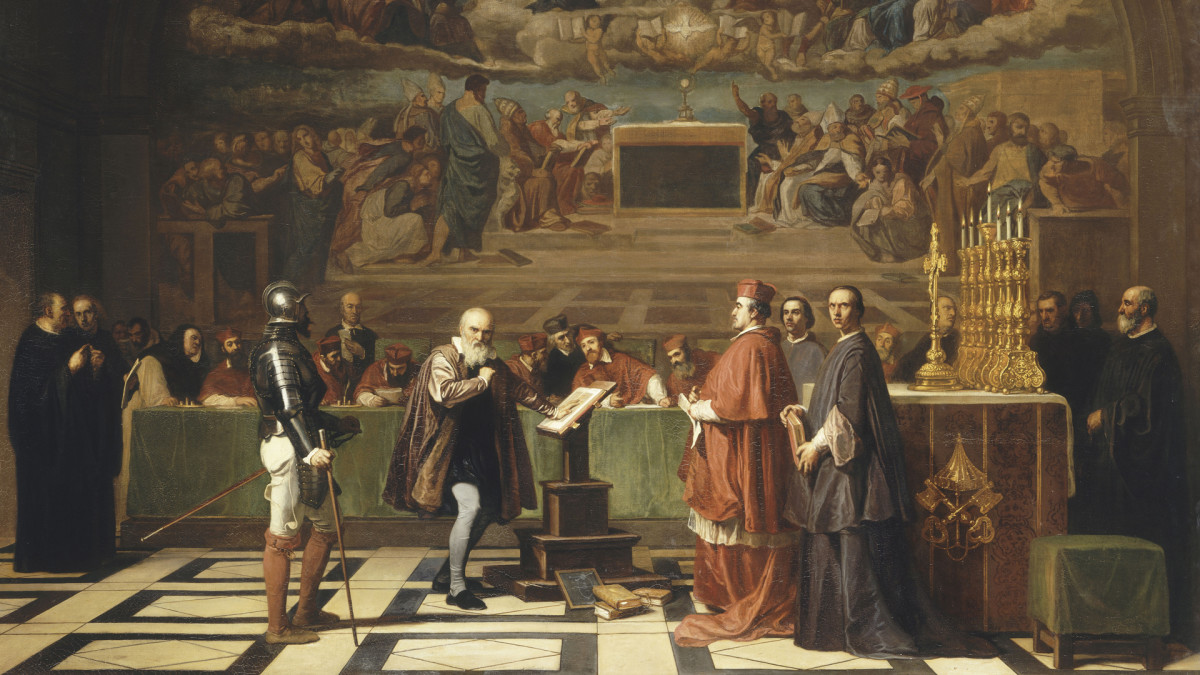 Galileo Galilei before members of the Holy Office in the Vatican in 1633.