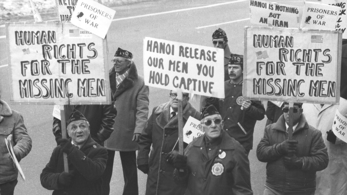 Over 100 veterans, most of them World War II as well as veterans of the Korean and Vietnam wars, marched to demand an accounting of the American veterans in South East Asia on January 24, 1982.