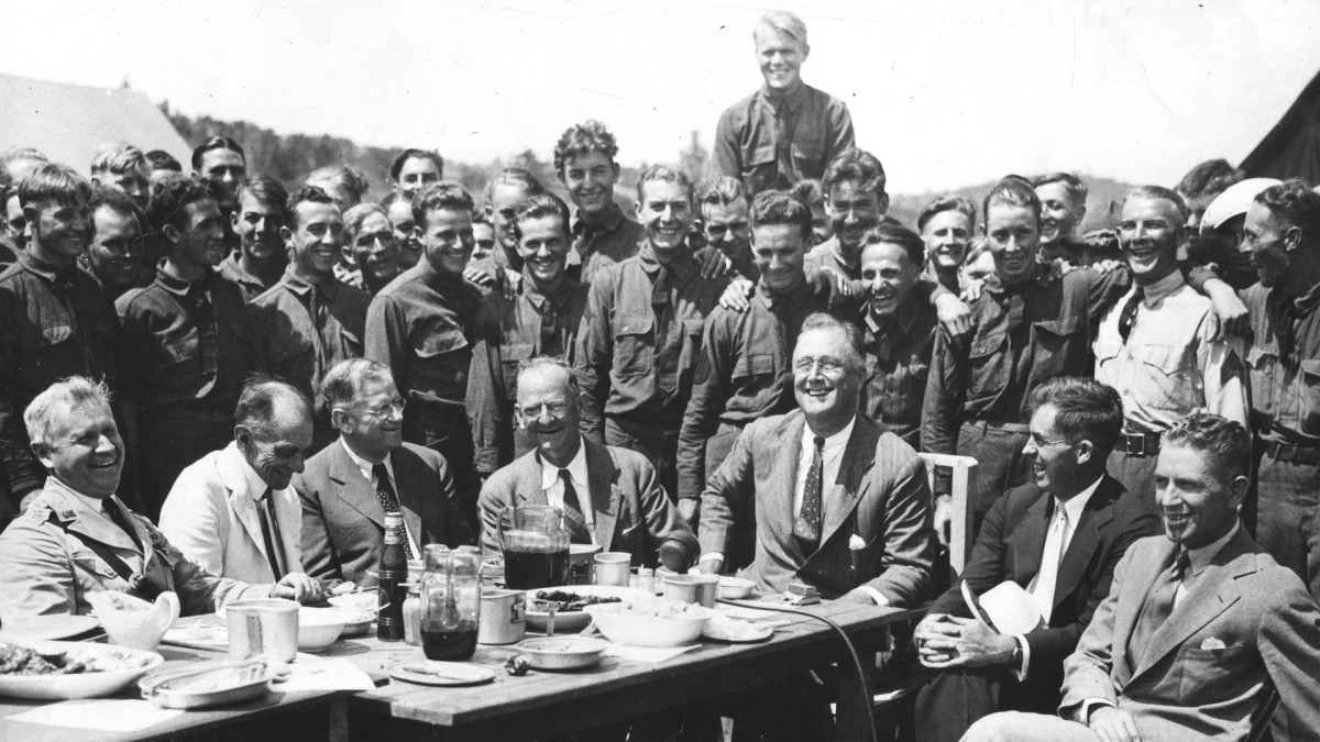 President Franklin D. Roosevelt visiting a Civilian Conservation Corps (CCC) camp in Virginia on August 12, 1933.