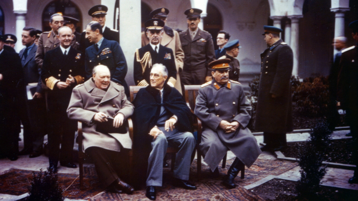 The Big Three (Winston Churchill, Franklin D. Roosevelt, Joseph Stalin) at the Yalta Conference, 1945