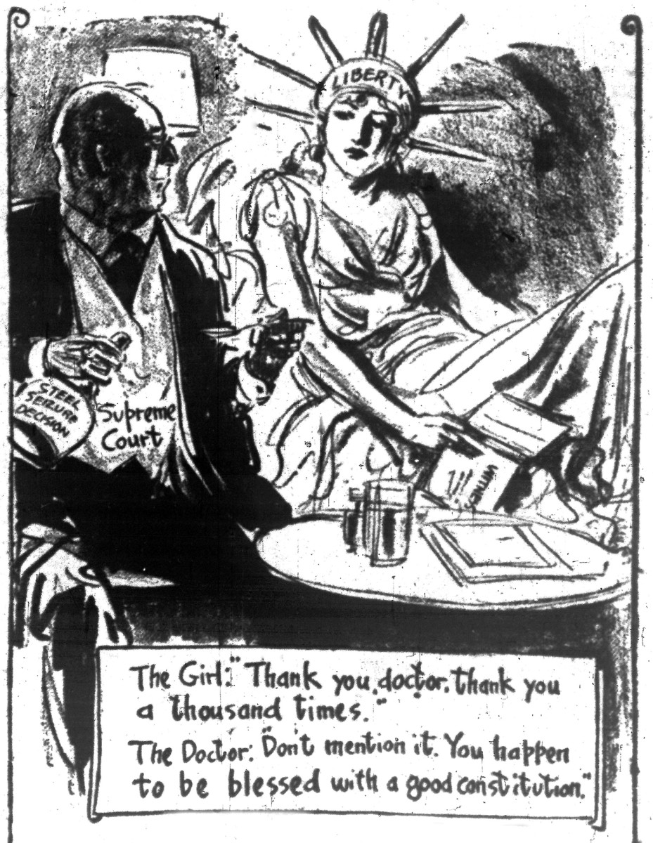 A cartoon from June 3, 1952 when the Supreme Court ruled the president didn't have the authority to seize private property without an act of Congress.