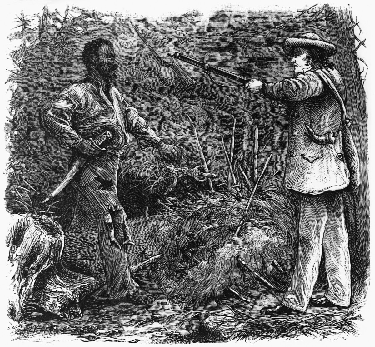 Nat Turner (1800-1831) accosted in the forest by a man hunting for black people seeking freedom.