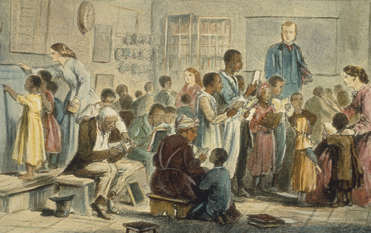 Freed black people learning to read with white teachers in school circa 1860.