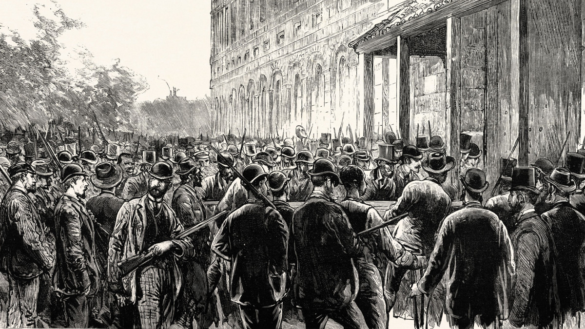 A lynch mob in New Orleans breaks into the prison where Italian immigrants were being held, accused of murder in 1891.