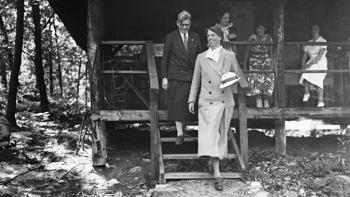 First Lady Eleanor Roosevelt visiting Camp Tera at Bear Mountain, New York for unemployed women, which was opened at the suggestion of Secretary of Labor Frances Perkins and herself, in 1933.
