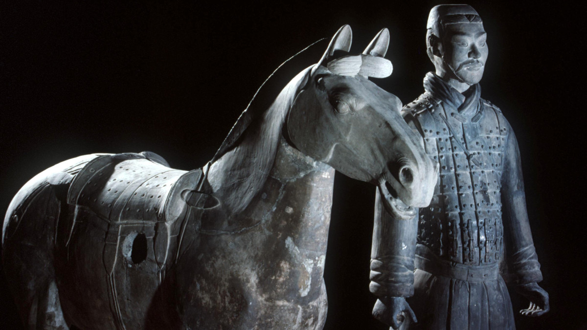 Terra cotta statues of a Qin Dynasty Horseman, on display in France 1992.