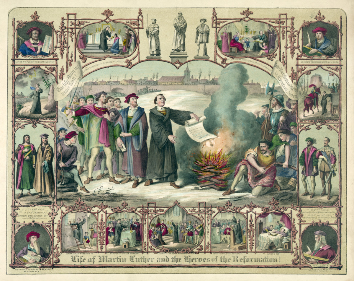 Martin Luther burning a Papal Bull Exsurge Domine issued by Pope Leo X, c. 1520.