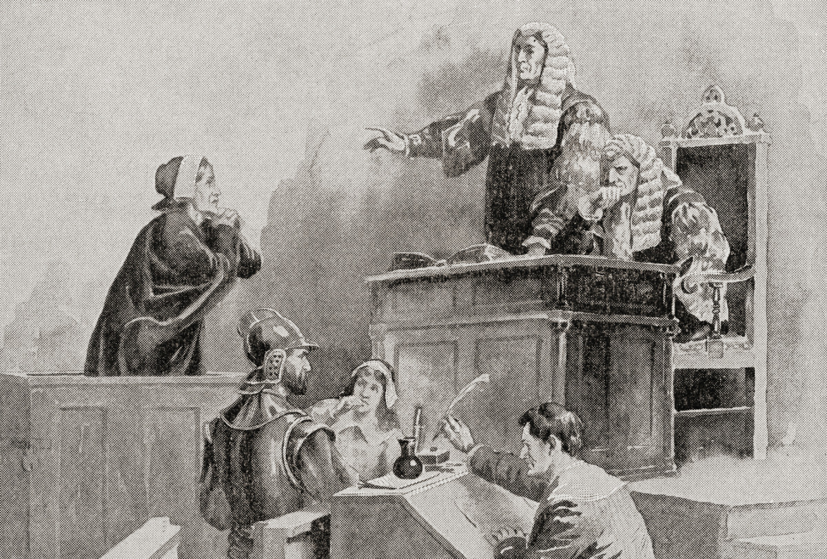 A scene in the courtroom during The Salem witch trials of 1692.