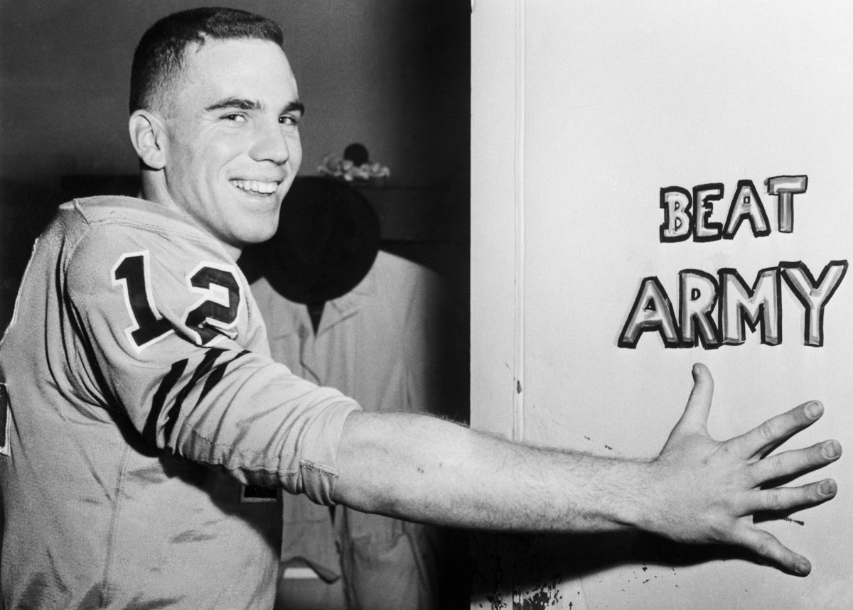 In 1963, Navy quarterback Roger Staubach led his team to its fifth straight win over Army.