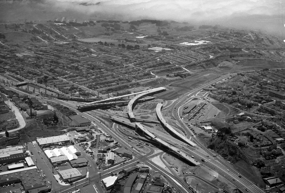 Aerial photo of San Francisco, c. July 1959, showing the Highway 101 and Interstate 280 interchange still under construction.
