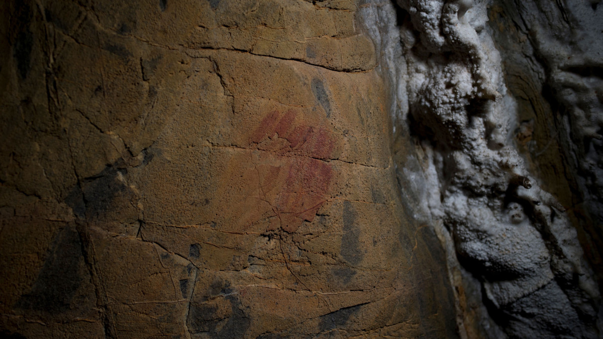 Neanderthal cave paintings inside the Andalusian cave of Ardales, pictured March 1, 2018. The cave paintings were created between 43,000 and 65,000 years ago, 20,000 years before modern humans arrived in Europe.