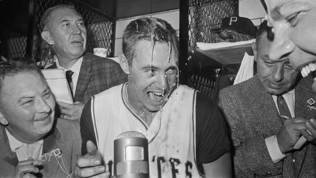 Bill Mazeroski celebrates in the locker room after his epic home run in the 1960 World Series.