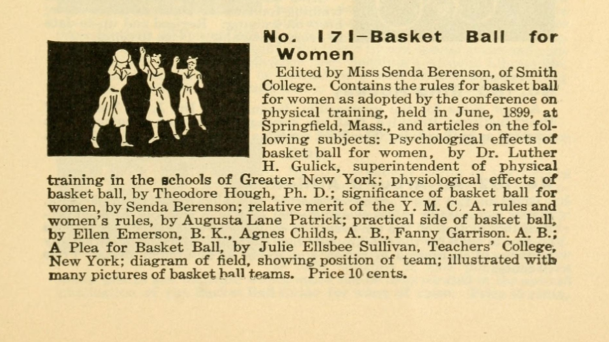 Senda Berenson edited a women's basketball guide issued by Spalding, a sporting goods company.