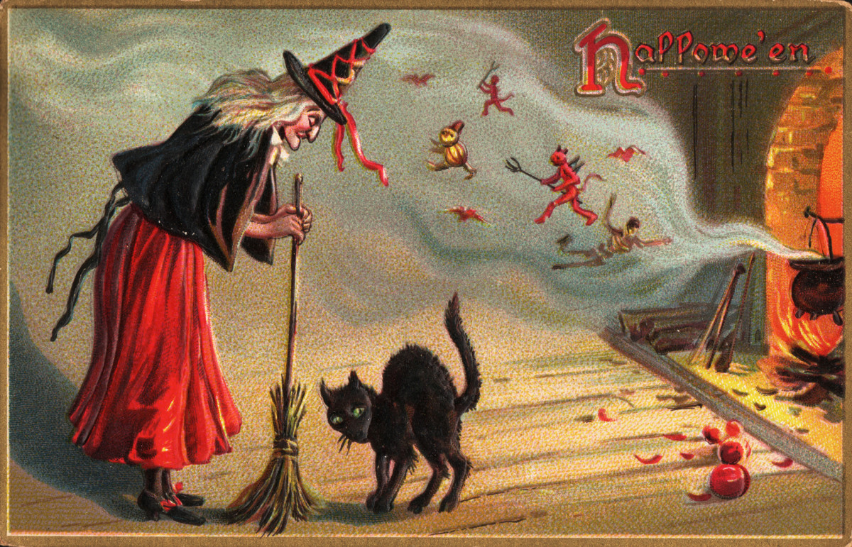 A Halloween postcard from the early 1900s featuring a witch, a black cat and spirits.