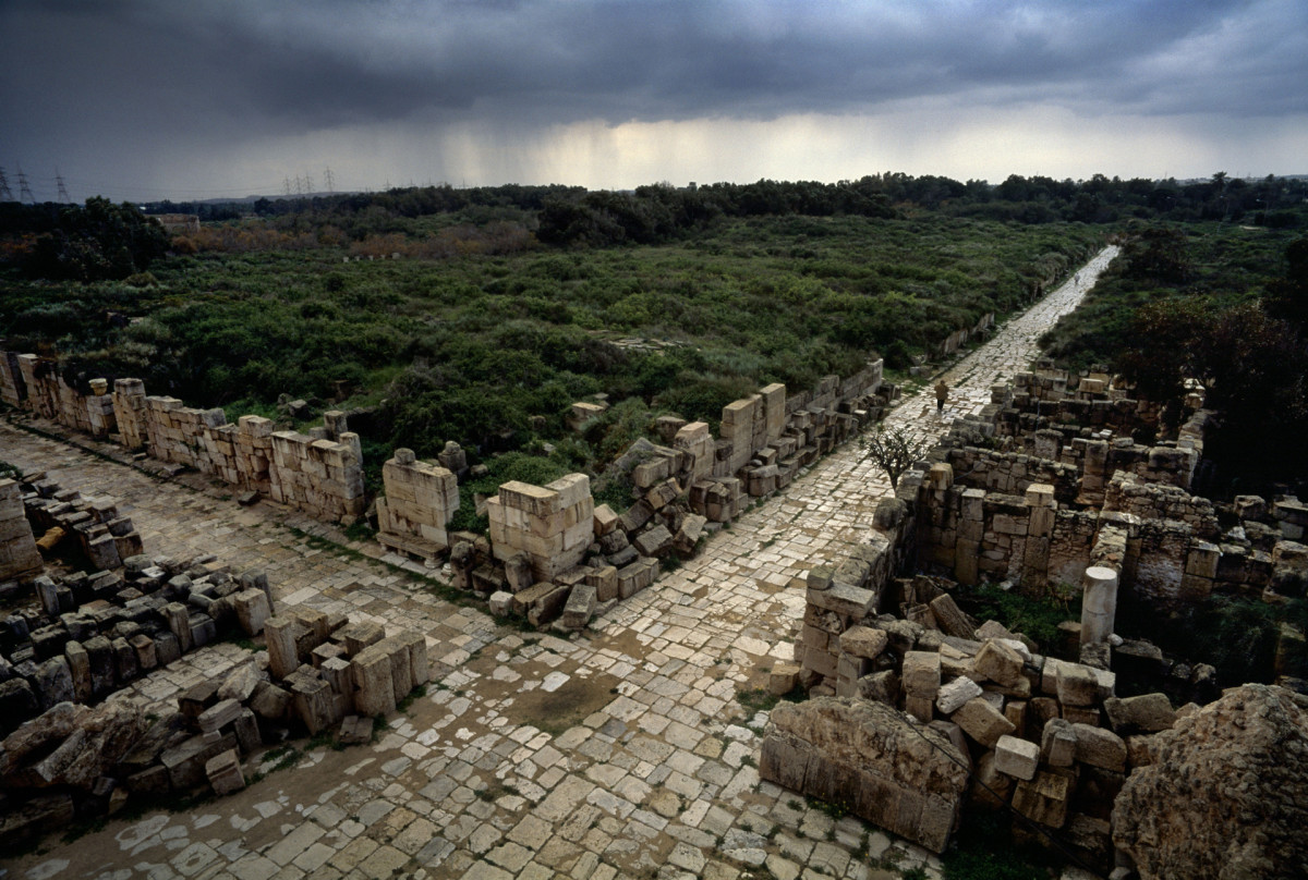 A view of a paved intersection of the ancient Roman roads in Leptis Magna, Libya, the largest city of the ancient region of Tripolitania, pictured in May 2000.