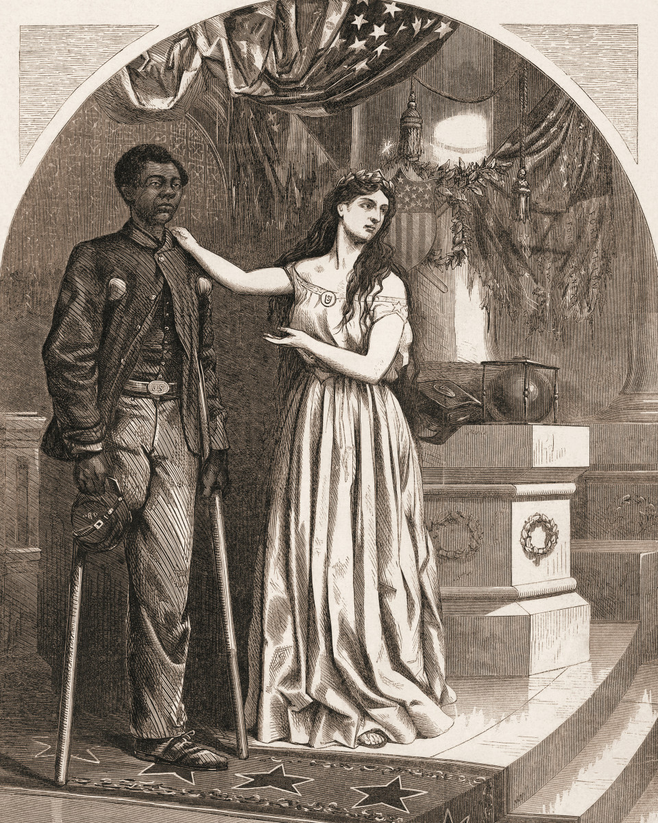 Editorial cartoon, by Thomas Nast, commenting on denial of voting rights for Black Civil War veterans with the caption, 'Franchise, And Not This Man?', c. 1865.