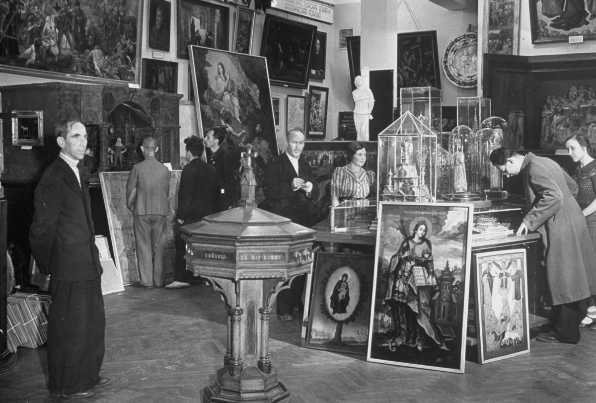 An Anti-Religious Museum displaying various religious icons, statues, & paintings,August 1941.